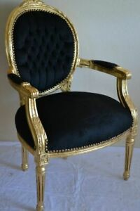 LOUIS XVI ARM CHAIR FRENCH STYLE CHAIR VINTAGE FURNITURE BLACK AND GOLD