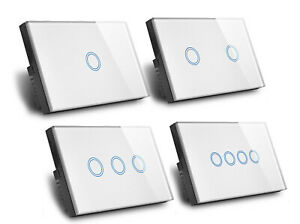 Touch Wall Light Switch LED 1/2/3/4 Gang 1way Touch Glass Switch AU Certified