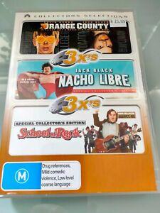 JACK BLACK 3-DVD PACK: ORANGE COUNTY + NACHO LIBRE + SCHOOL OF ROCK R4 (GC)