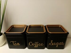 Mrs Hinch Inspired Tea coffee sugar containers Black/Gold luxury stackable