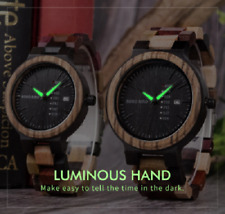 BOBO BIRD Colourful Mens Deluxe Wooden Watch With Date In Pine Gift Box Luminous