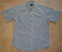 Kurzarm Herren Freizeithemd GIORGIO 42 M-L Wanderhemd Trachten Hemd schwarz-weiß