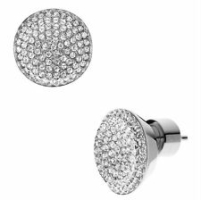 Silver Tone Mixed Metal Crystal Glass Full Pave Stud Earrings Featherweight 1/2""