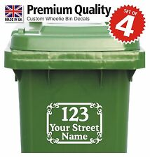 4x WHEELIE BIN NUMBERS Quality custom vinyl stickers with street/road/house name