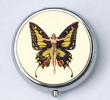 Art Deco Butterfly Flapper Pill Case pillbox holder box hipster