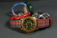 UHRENARMBAND 26 24 22MM SCOTTISH TWEED STYLE / LEDER MA STRAP FITS PANERAI BAND
