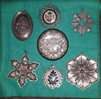 Sterling Christmas Ornaments & Mirror Lot 191 Grams Lunt Gorham Towle Wallace
