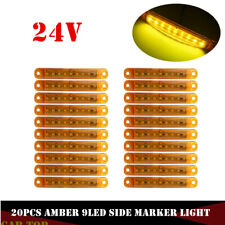 20X Amber 9 LED Sealed Side Marker Clearance Light For Truck Trailer Lorry 24V