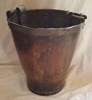 Leather & metal vintage pre Victorian antique bucket