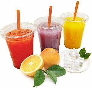 Smoothie Cups & FLAT Lids Plastic Clear Party Cup- Juice, Slush, Milkshake etc.