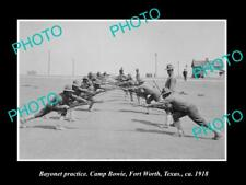 OLD 8x6 HISTORIC PHOTO OF FORT WORTH TEXAS CAMP BOWIE BAYONET TRAINING 1918