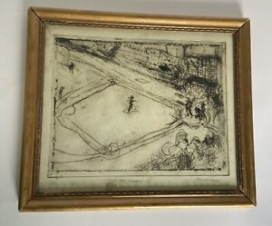 """1939 Pen & Ink Abstract Drawing """" Night Time Baseball - First Game""""  Weatherby"""