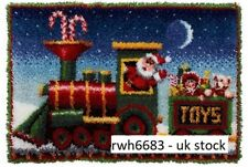 Large Santa Train Toys Latch Hook Kit Rug Wall Hanging Christmas - 85cm x 60cm