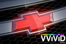"VViViD 11.8"" x 4"" Reflective Red Chevy Bowtie Logo Vinyl Wrap Sheets x2"