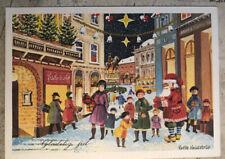Christmas Postcard ~ Santa Shopping Street Winter Lantern Snow Denmark