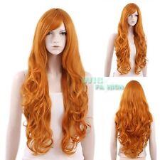 80 CM Hitzebeständige Lange Lockige Orange Mode Haar Perücke