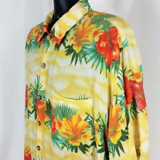 KAD Clothing Mens XL Yellow Orange Hawaiian Floral Aloha Camp Shirt Rayon