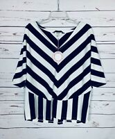 Umgee Boutique Women's Sz Small Navy White Striped Summer Top Blouse NEW TAGS