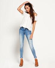 Neue Damen Superdry Cassie Skinny Jeans Luna Blau