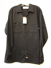 DICKIES XL NWT Navy Blue SHIRT Long Sleeve Mens New Button Front