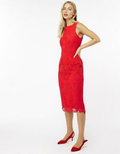 MOSOON BONNIE RED GUIPURE LACE PENCIL BODYCON MIDI DRESS 12 ONCE £119 WASHABLE