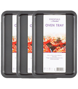 Prochef Everyday Extra Large Non Stick Baking Oven Tray Carbon Steel 3 PIECE SET