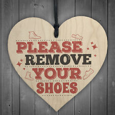 Please Remove Shoes Take off Porch Hanging Door Sign Wooden Heart Plaque Gifts