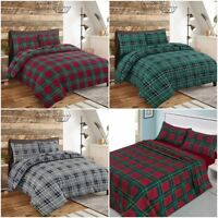 Tartan Check Flannel 100% Brushed Cotton Luxurious Bedding Sets / Sheet Set NZ
