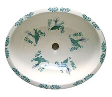 #085 LARGE BATHROOM SINK 21X17 MEXICAN CERAMIC HAND PAINT DROP IN UNDERMOUNT
