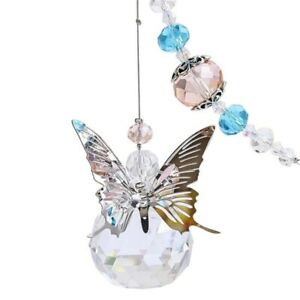 Butterfly Crystals Ball Prisms Suncatchers Hanging Ornament Home Garden Decor