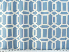 Drapery Upholstery Fabric 100% Cotton Geometric Chain Print - Ivory / Royal Blue