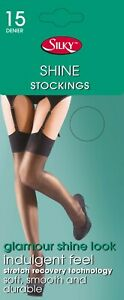 Quality Silky Shine Black Lace Top Luxury Stockings Barely Black Gloss One Size