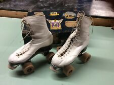 Vintage White Roller Skates Betty Lytle by Hyde Chicago w/ Old Case Wood Wheels