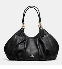 NWT Coach F12155 Lily Shoulder Bag In Black Natural Pebble Leather MSRP $375