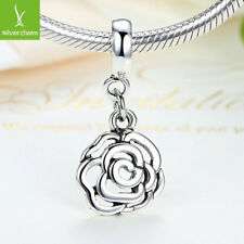 European Silver Rose Flower Charm Bead Dangle Fit 925 Necklace & Bracelet, Chain