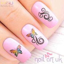 Rainbow Butterfly Water Decal Nail Art Tattoos Stickers