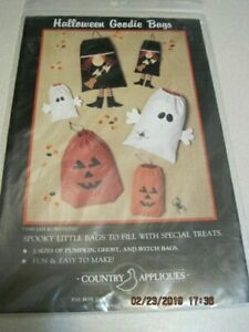 Appliques HALLOWEEN GOODIE BAGS SPOOKY Country 1990 Pumpkin, Ghost & Witch