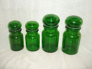 Vintage Set of 4 GREEN GLASS APOTHECARY JARS Bubble Stoppers Made in Belgium