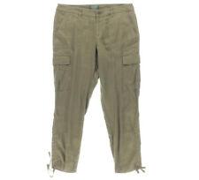 NEW Womens Lauren Ralph Lauren Olive Marsh Linen Cargo Jogger Petite Pants AU 16