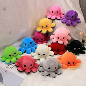 Double-Sided Flip Reversible Octopus Plush Toy Stuffed Doll Mood Meme Kid Gift