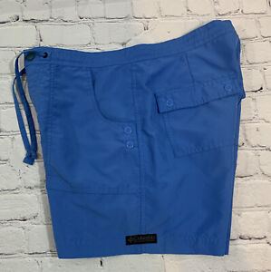 """Columbia Womens Size Small Shorts S05-AL4366 Flat Front 5"""" Inseam Blue"""