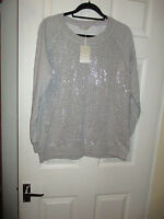 NEW LADIES GREY JUMPER WITH STUD DETAIL SIZES 16 or 18