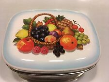 Vintage Tin Canister Container  Made in England Hinged Fruits  Basket Rectangle