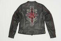 Harley Davidson Womens BARCHETTA Leather Jacket Reflective Tribal 2XL 97169-10VW