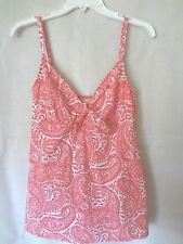 Talbots One Piece Coral & White Paisley Tummy Control Swim Dress Bathing Suit