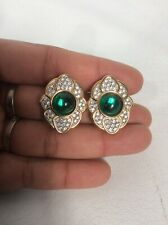 Statement Vtg  S.A.L Swarovski Crystal Green Gripoix Gold  tone clip On earrings