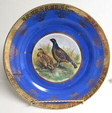 VINTAGE STW BEEHIVE BAVARIA GERMANY GAME BIRD PLATE GOLD TRIM COBALT BLUE