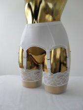 Medium-XL 8 Strap White Lycra Lace Trim Designer Retro Burlesque Suspender Belt