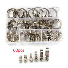 60PCS Stainless Steel Hose Pipe Hoop Strong Hose Clamps Wire Assorted Kit w/Case