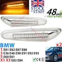 LED Side Indicator Clear Turn Signal Flasher BMW E90 E92 E60 E87 E82 LUXFACTORY